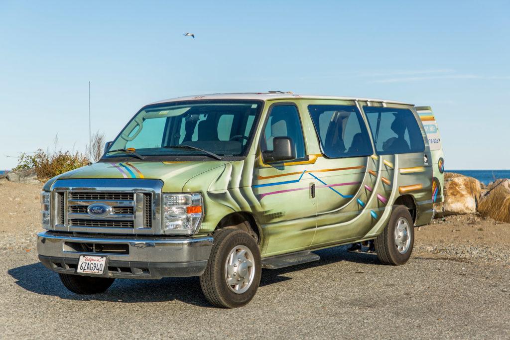 Unser Van von der Ostküste am Meer von Portsmouth in New Hampshire